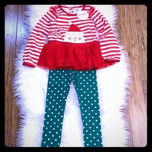 Santa Peplum Top with Polka-dot Green Leggings